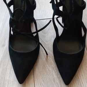 ZARA Black Soft Velvet Heels- Size 9